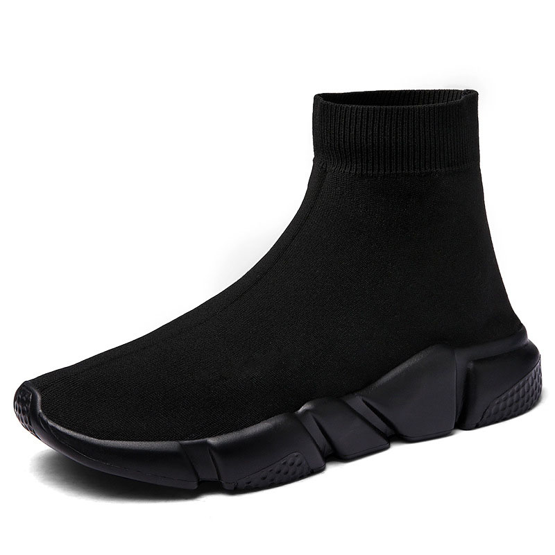 Sale Cheap Summer Solid Light High Top Breathable Knit Socks Boots Elastic Band Stretch Flat Shoes For Men Sneaker Casual Shoes недорого