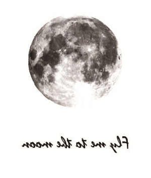 "NEW Design Vintage Grey Moon  English Letter ""Fly me to moon""Temporary Tatoo Sticker Water Transfer fake tattoo for men women"