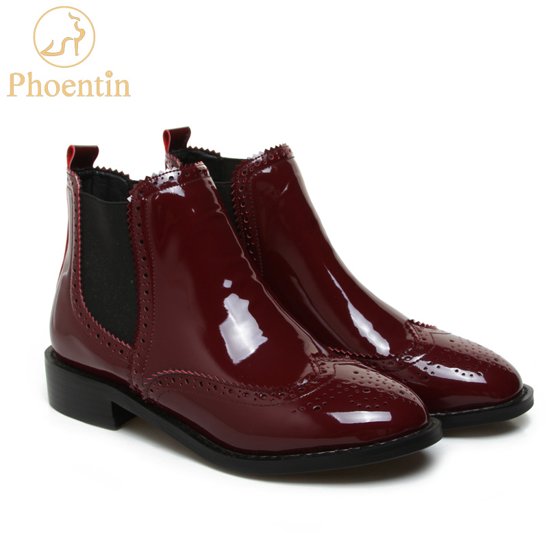 Phoentin wine red womens chelsea boots low square heel round toe hole ankle boots para mulheres women winter shoes 2017 FT236 2018 fashion cow leather zipper superstar winter boots women round toe low heel solid concise pregnant chelsea ankle boots l08