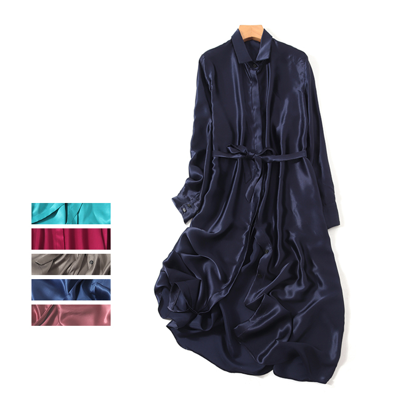 19 New Frosted Silk Dress 100% Natural Silk Pure Color Long Sleeve Dress Silk A Loose Tie
