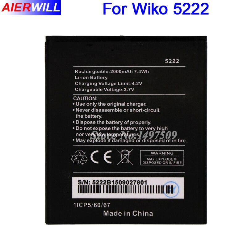 For Wiko 5222 Battery Batterie Bateria Accumulator AKKU 2000mAh High Quality
