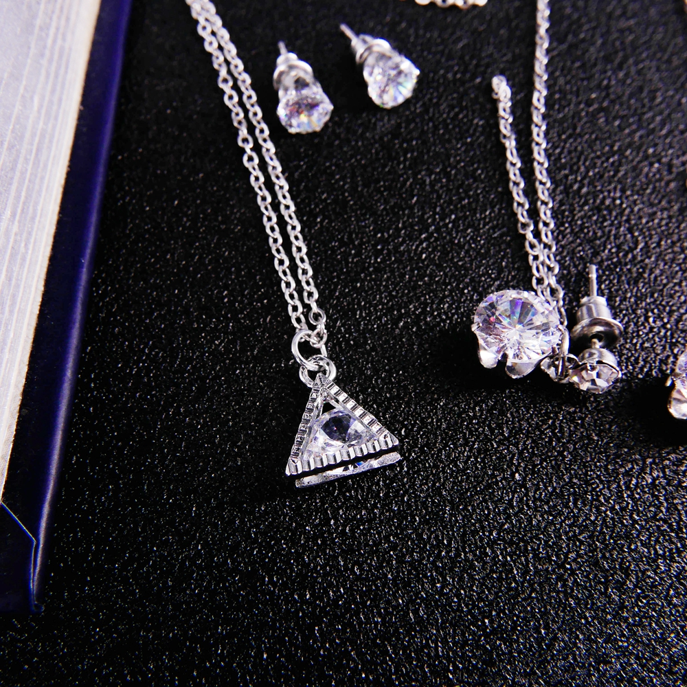 Triangle Cubic Zirconia Crystal Pendant  Necklace Engagement Jewelry Set  Women's Earrings Set