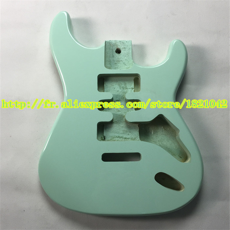 Body ST standard high quality electric guitar, basswood, light waves green color, free shipping hot sale top quality white lp custom guitar with golden hardware electric guitar free shipping white color