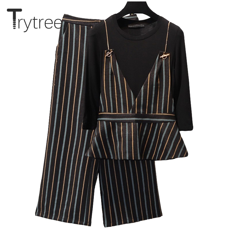 Trytree Spring Summer Women Three piece set Casual tops + pants Ankle Length Pants Office Lady Striped Suit Set 3 Piece Set