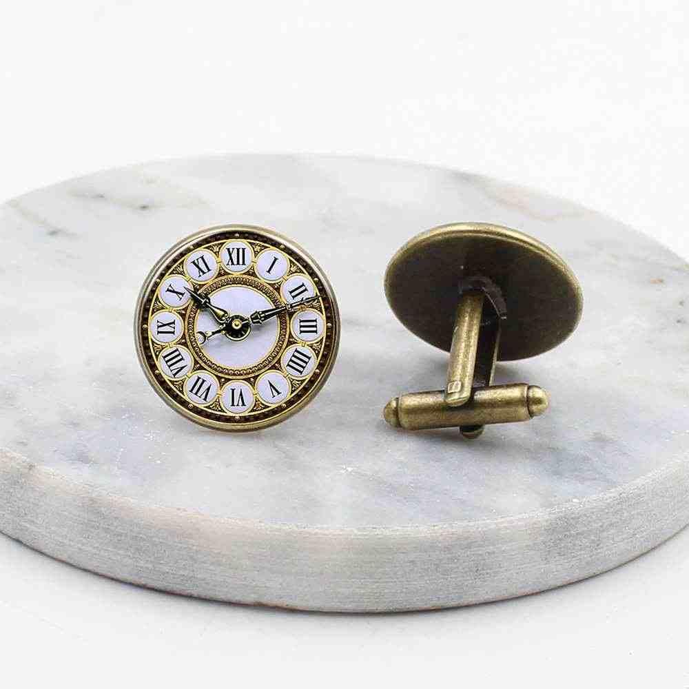 2019/hot koop, glamour mannen glas klok patroon manchetknopen, heren geschenk manchetknopen gift