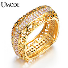 UMODE Brand New Arrival Tiny AAA Cubic Zirconia  Square Band Eternity Rings For Women Real Gold Plated Jewelry AUR0196