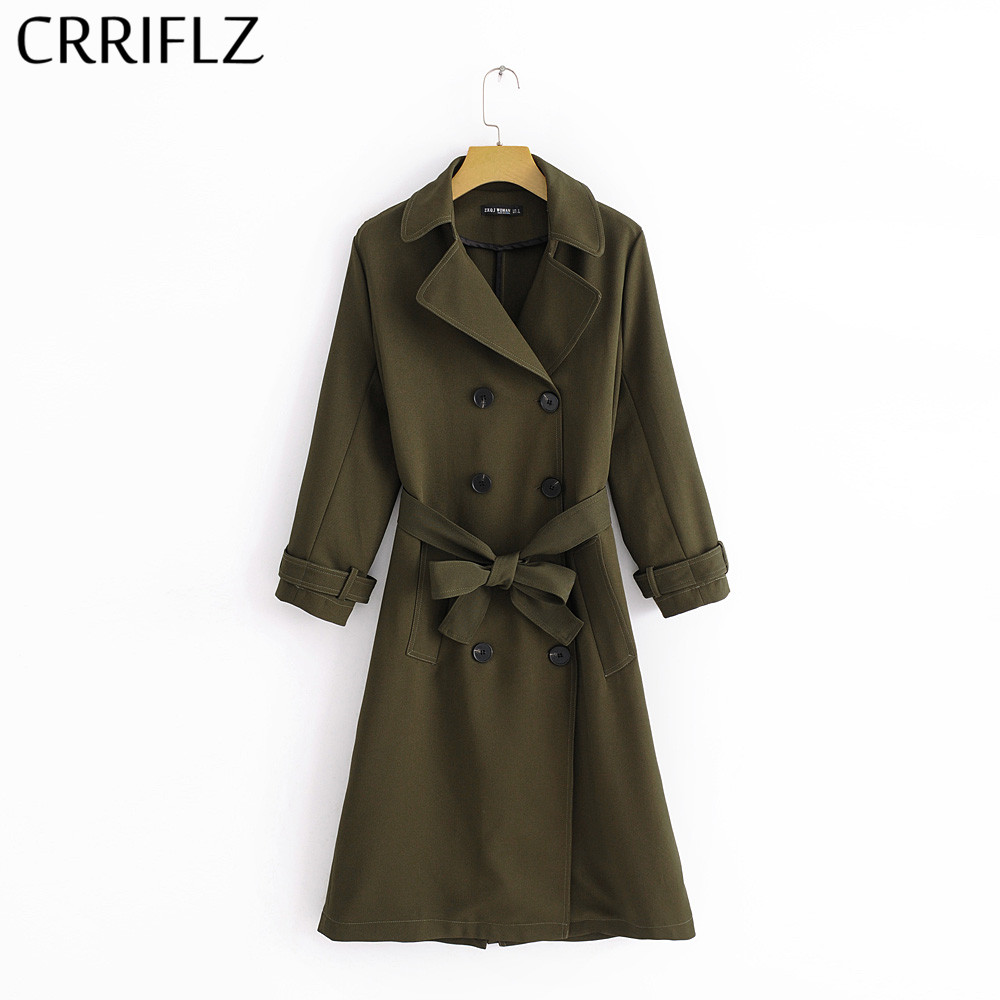 CRRIFLZ Olive Green Women Chic Casual 2019 New Long   Trench   Fashion Sashes Design Olive Green Double Breasted Outwear Autumn Coat