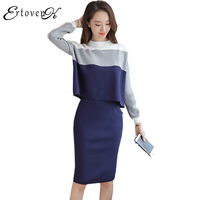 Knitted Dresses Women Autumn Clothing Large Size Two Piece Set Elegant Temperament Tops Long Sleeves Lady