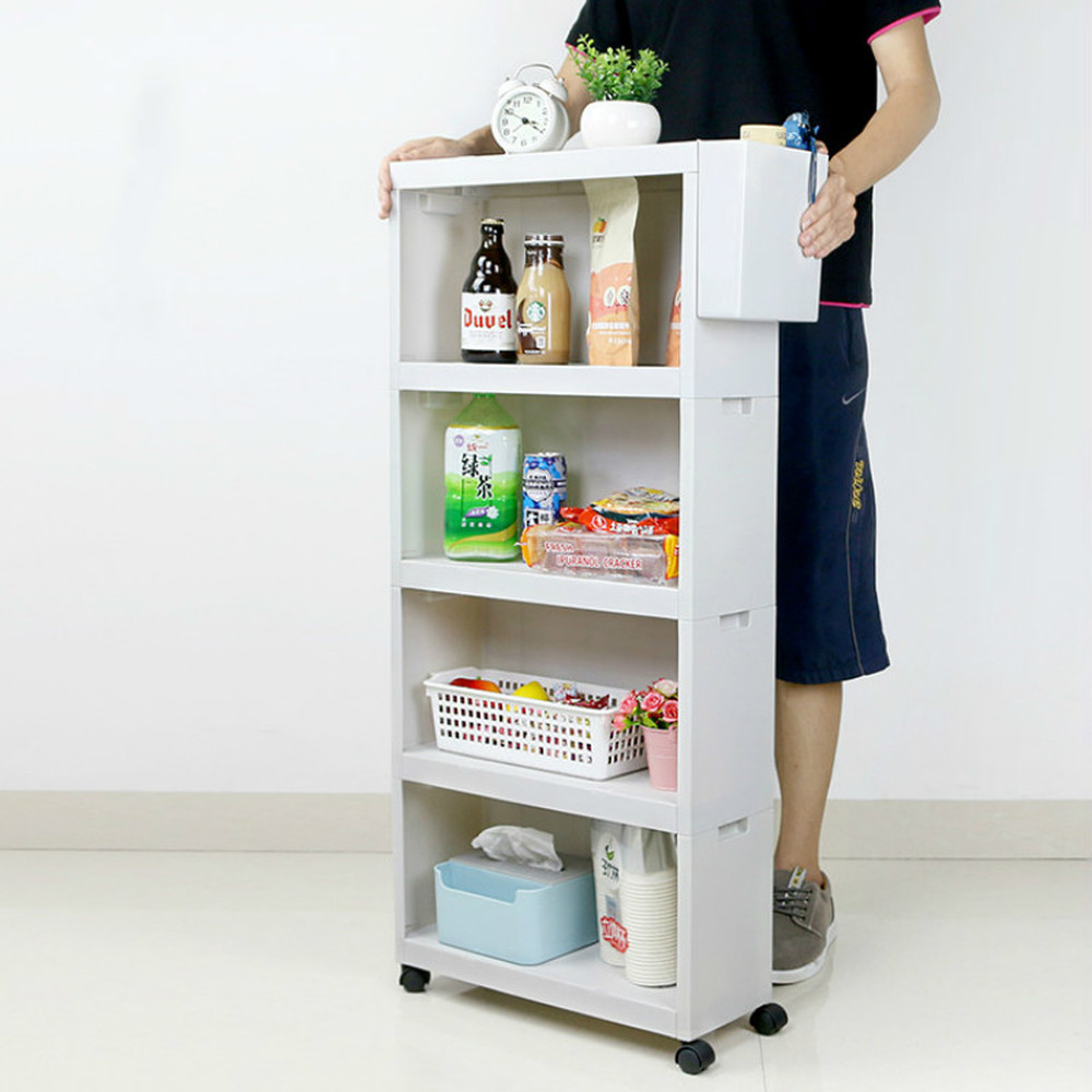 Storage Rack Pulley Movable Quilted Bathroom Living Room Multi-layer Finishing Cabinet Kitchen Narrow Floor Shelf LM01161138