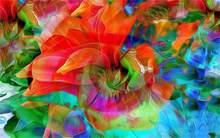 Oprawione abstrakcyjne sztuki cvetok lepestki kraski linie tkanina jedwabna plakat na płótnie