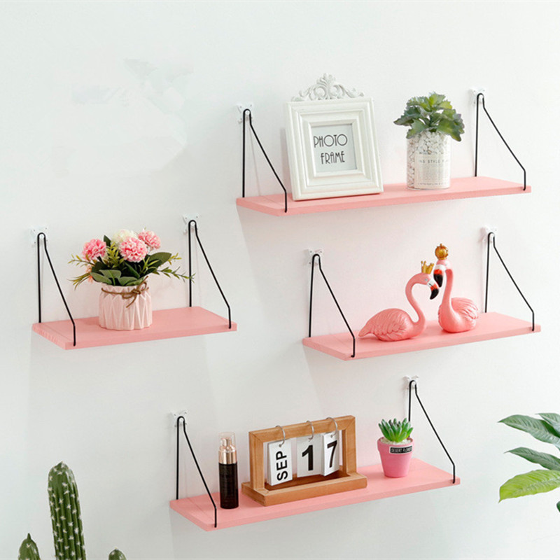 Nordic Style Colorful Wood Shelves Wall Clapboard Decoration Craft Storage Shelf Children Room Kids Clothing Store Display Stand