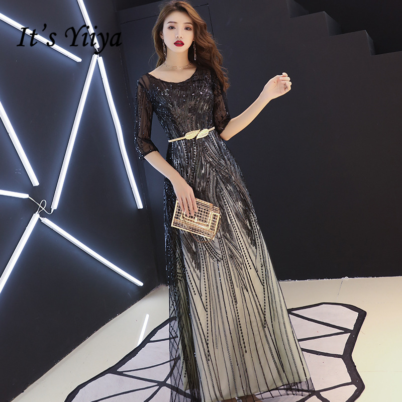Evening     Dress   Sequined Illusion O-neck Formal Black Prom   Dress   Half-sleeves Lace Sashes A-line Long Zipper Back Party Gown E306