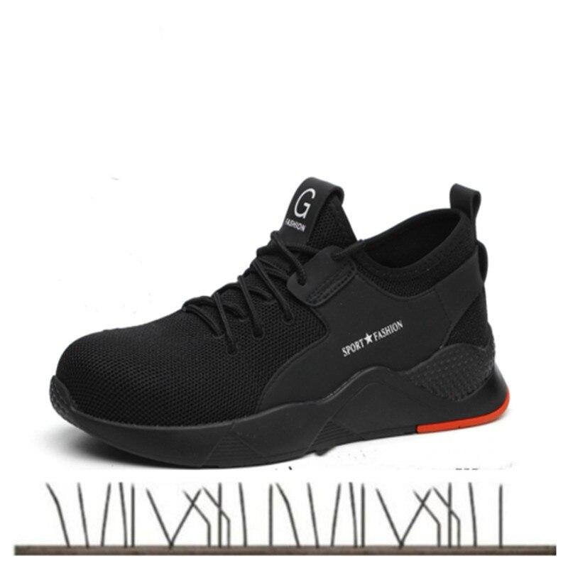 2019 grande taille hommes respirant en acier embout de protection chaussures de travail bottes courtes hommes en acier semelle moyenne sécurité Indestructible chaussures-in