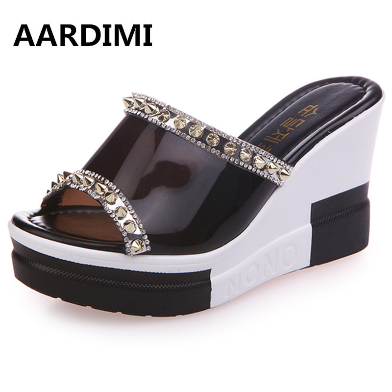 New arrival black white women platform sandals summer wedges shoes woman height increasing slippers women flip flops phyanic 2017 gladiator sandals gold silver shoes woman summer platform wedges glitters creepers casual women shoes phy3323