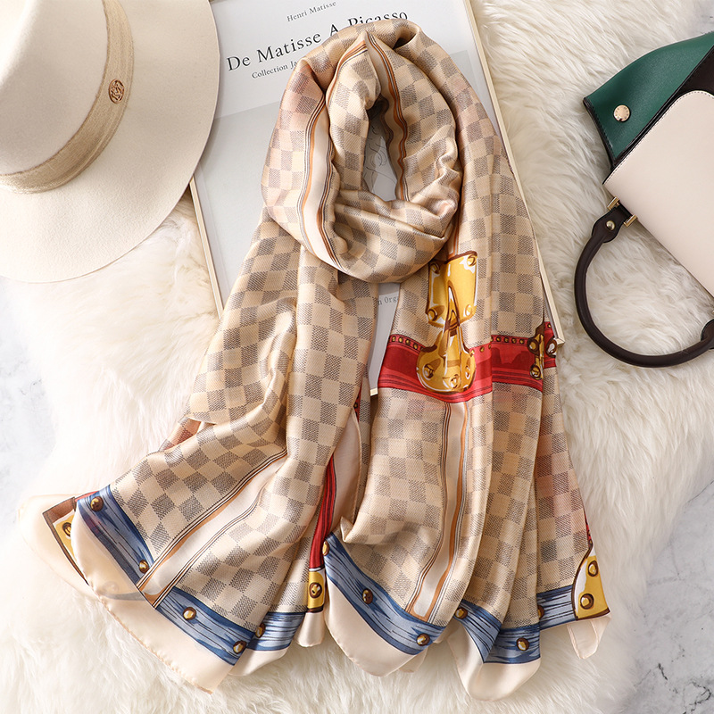 2019 Summer Fashion   Scarf   Women Plaid Printed Long Silk   Scarves   Luxury Brand Shawl   Wraps   High Quality Blue Red Hijab 180*90 CM