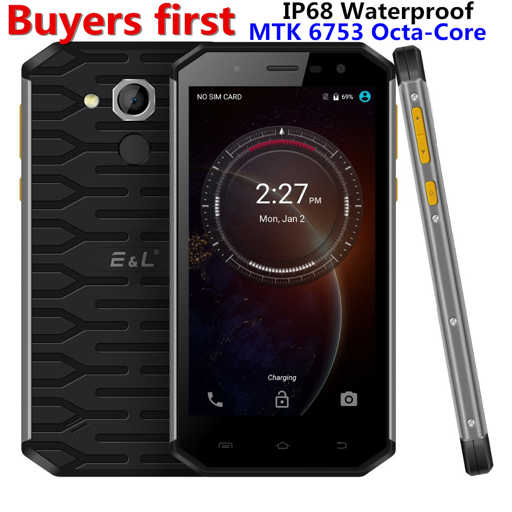 Original E L S50 IP68 Waterproof 4G LTE Mobile Phone 5 0 Android 7 0 MTK6753