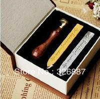 Vintage Sealing Wooden Wax Stamp With Gift Box 2 Wax Thank You Blessing Word For DIY