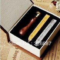 Vintage abdichtung holz stempel mit geschenk box + 2 wachs Danke Segen Wort für DIY Scrapbooking/Kartenherstellung/Hochzeitsdekoration