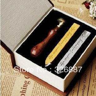 Vintage sealing wooden wax stamp with gift box+2 wax Thank You Blessing Word for DIY Scrapbooking/Card Making/Wedding Decoration 3d laser cut pop up greeting cards happy birthday postcards vintage chic retro peacock thank you gift message cards for girl