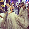 Саудовская Аравия V-образным Вырезом Роскошный Бисероплетение Свадебные Платья Царский Поезд Vestido Де Noiva Бальное платье Кружева Свадебное Платье Халат Де Mariage