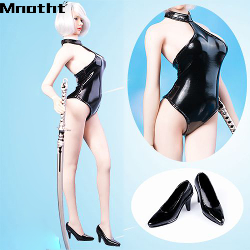 1/6 Scale Mm06 Yorha 2b Red White Black Halter Bikini Swimsuit Costume Leather Clothes F 12'' Big Bust Body Action Figure M5