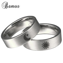 Bamos Simple Sun Moon Engagement Ring Fashion Stainless Stee