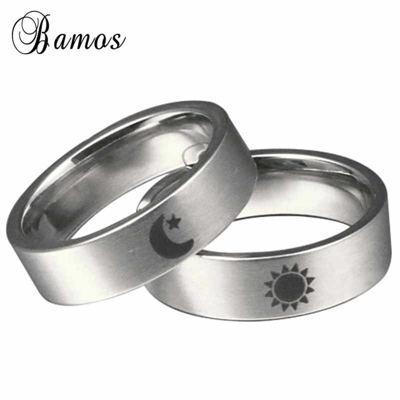 f837dab3bf Bamos Simple Sun Moon Engagement Ring Fashion Stainless Steel Couple  Wedding Rings For Women Men Minimalist