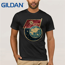 Gildan Brand Russia CCCP Flag Satellite Space Exploration Program T-Shirt Summer Mens Short Sleeve