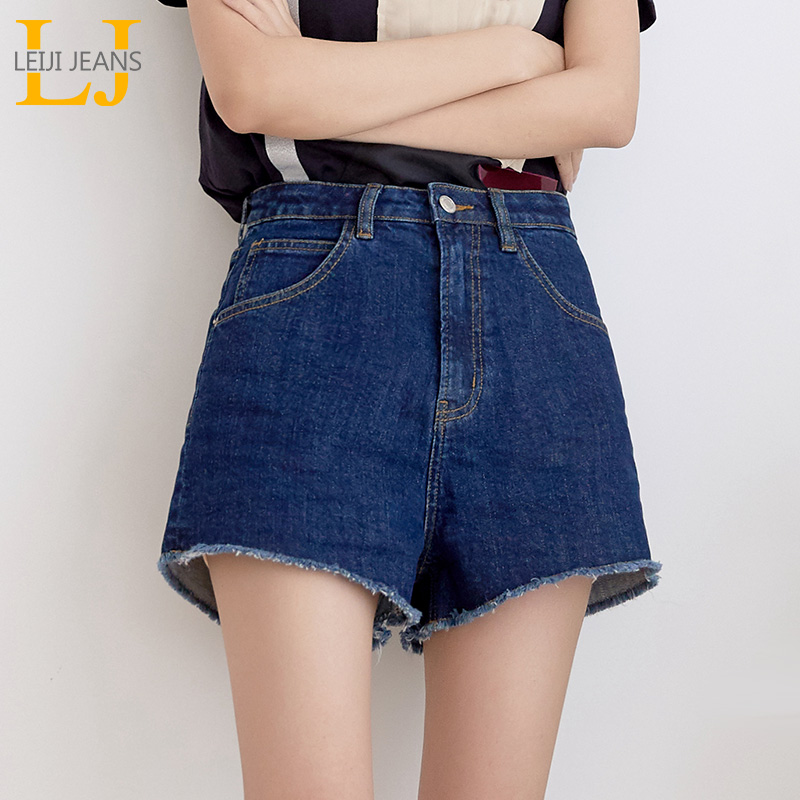 LEIJIJEANS New Arrival Summer Plus Size S-6XL 2 Solid Color Tassel High Waist Cotton Casual Loose Women Denim   Shorts   5810