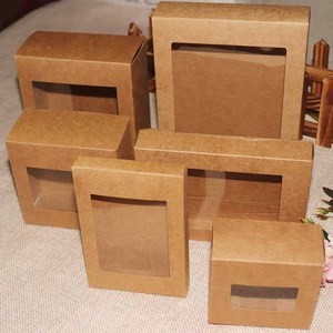 10 Pcs DIY Vintage color Kraft paper gift box package with clear pvc window candy favors arts&krafts display package box(China)