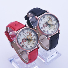 Roman Copper Shell Map Dial Quartz Watch Males and Ladies Style Crimson Brown Black Ladies Wristwatch 148