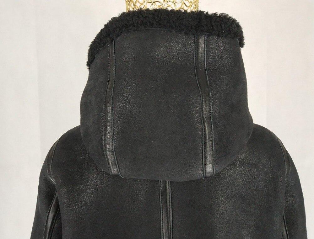 2019 Arrivée Naturel Court Avec Femmes Double Manteau Visage Veste Mouton Capuche Fourrure De Laine Nouvelle Manteaux Black À En Peau Hiver Geniune prqp5y
