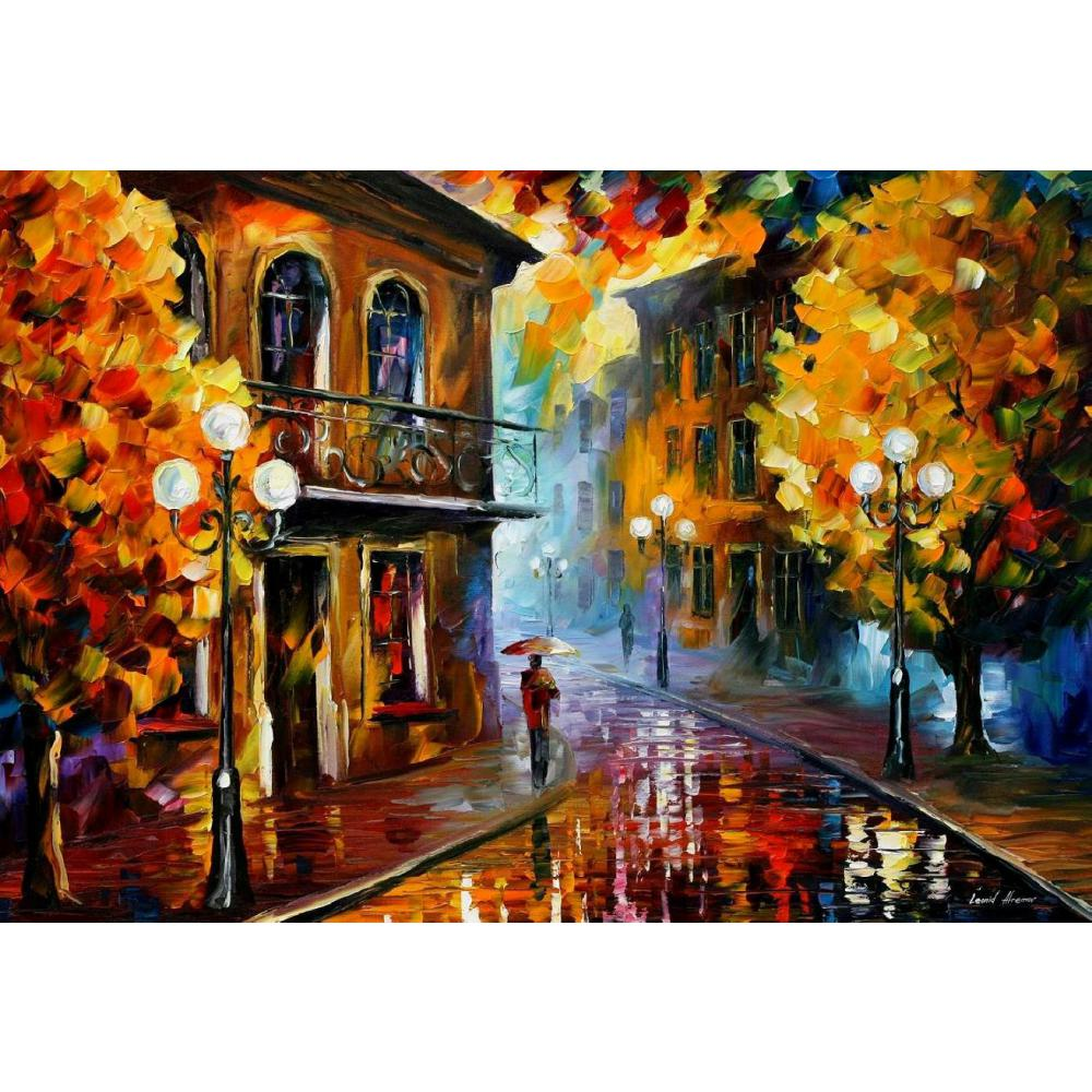 Hand painted Palette knife painting fall rain II oil on canvas modern art Landscape for room decor