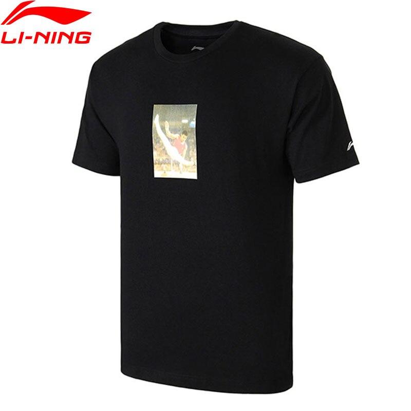Li-ning hommes NYFW T-Shirt VINTAGE m. Li OG imprimé T-Shirt coupe régulière manches courtes doublure hauts AHSN741/AHSN689 MTS2756