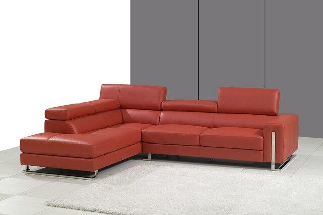 Rosso sezionale divani in pelle soggiorno 8034 divano in pelle ...