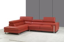 MANBAS Red Sectional 8034 Leather Sofa Modern Leather Sofas