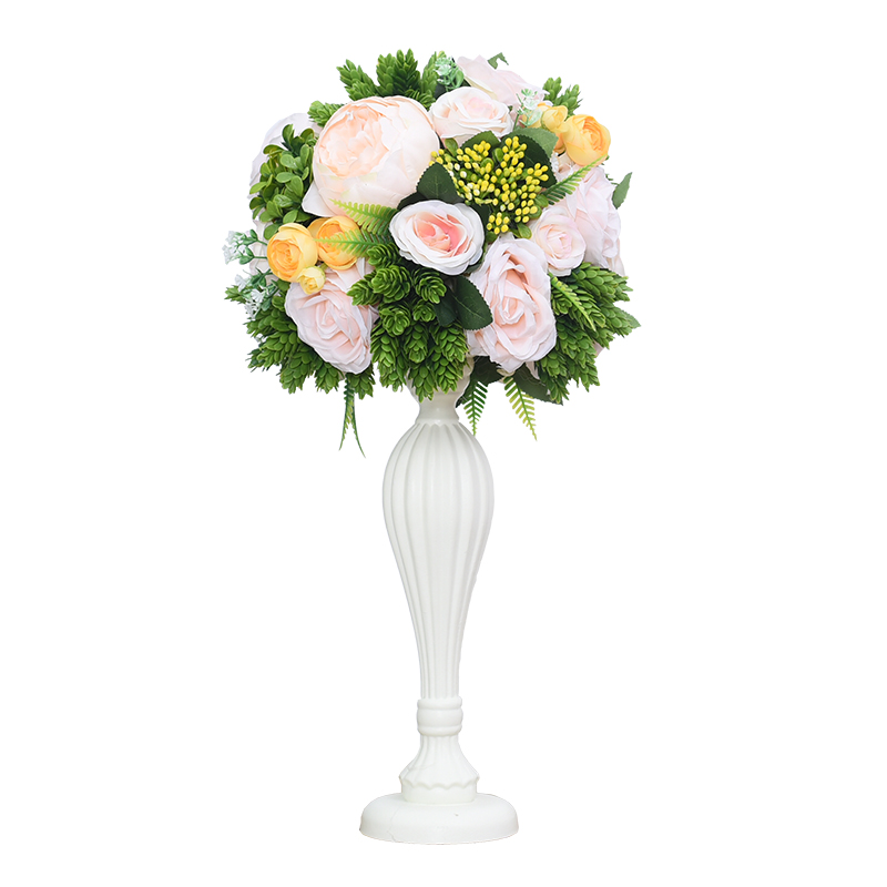 Flone Wedding wooden table centerpiece flowers props with vase road lead flower ball decoration artificial flower hotel christma - 2