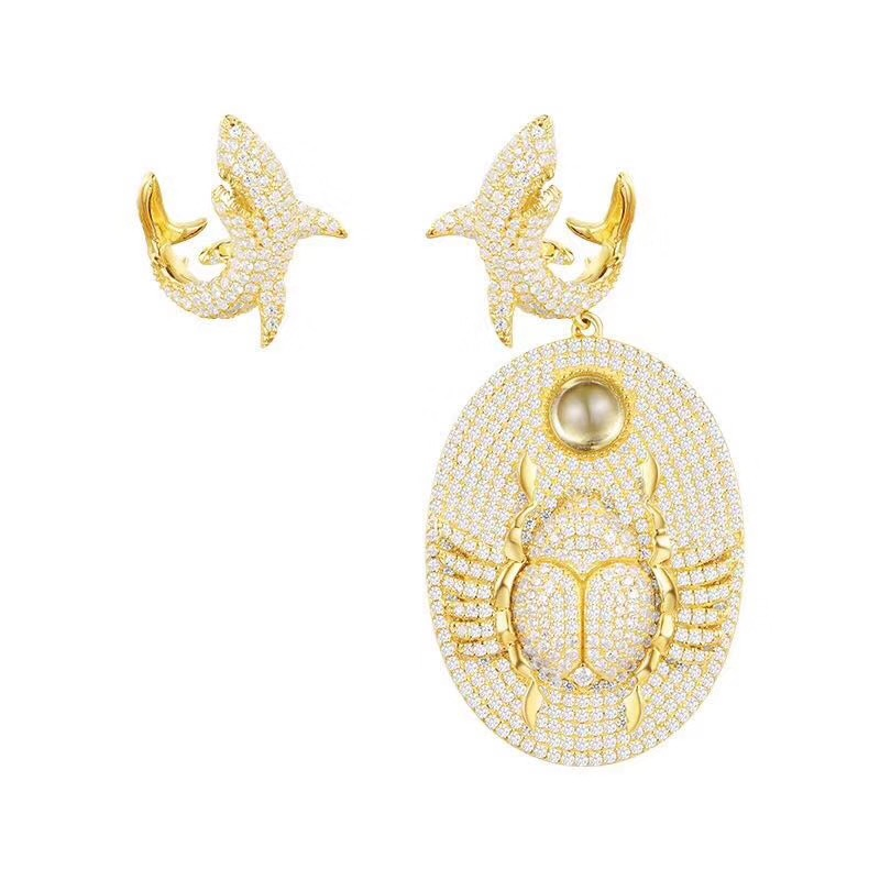 SLJELY 925 Sterling Silver Luxury Brand Jewelry Asymmetric Gold Color Shark and Scarab AB Earrings Micro