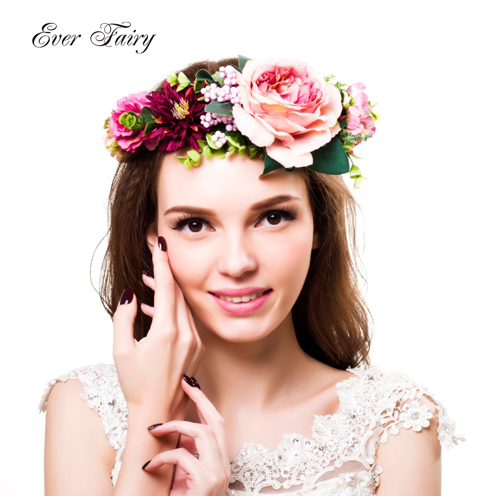 Rose flower headband flower crown for bridesmaid garland floral ever fairy 2017 women flower crown wedding kids girls party flower headband wreath with ribbon adjustable izmirmasajfo Gallery