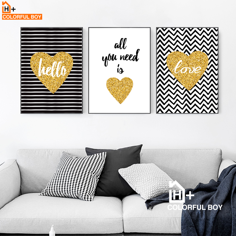 Hot Sale Gold Heart Love Quotes Wall Art Canvas Painting Nordic Mesmerizing Love Quotes Wall Art