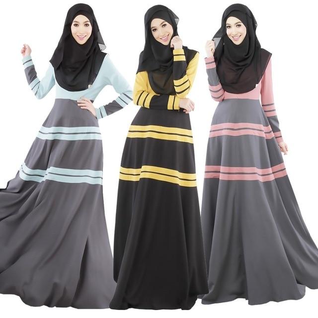 С длинным Рукавом Мусульманских Макси Luslim Платье Абая Турецкая Исламская Одежда Для Женщин Одеяние Longue Femme Musulman