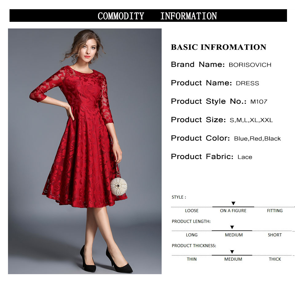Borisovich New 18 Spring Fashion England Style Luxury Elegant Slim Ladies Party Dress Women Casual Lace Dresses Vestidos M107 1