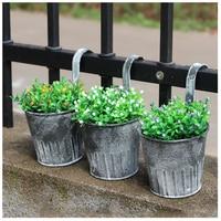 AIMA 3 5 Pcs Vintage Iron Hanging Planters Garden Pot Flower Container Home Basket 3Pcs