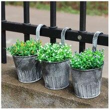 AIMA 3/5 Pcs Vintage Iron Hanging Planters Garden Pot Flower Container Home  Basket,