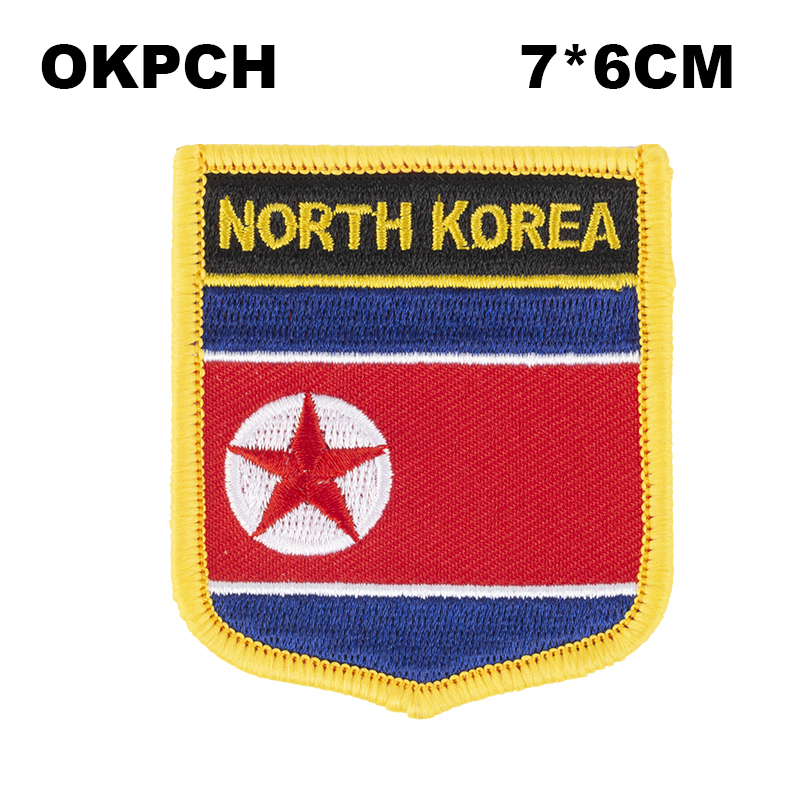 North Korea Shield Shape embroidered flag patches national flag patches for Cothing DIY Decoration PT0046-S image