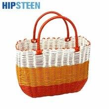 HIPSTEEN Dual Handles Plastic Hand Woven Fruit Storage Basket Vegetable Hanging Baskets - Orange M