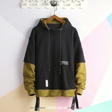 wetailor Pathwork Printed Sweatshirts Hoodies Men Casual Hooded Pullover Streetwear