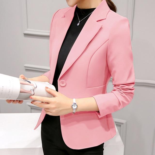 2018 Women's Blazer Pink Long Sleeve Blazers Solid One Button Coat Slim Office Lady Jacket Female Tops Suit Blazer Femme Jackets 4