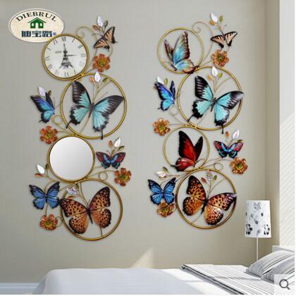 Iron art driedimensionale vlinder frame muur opknoping woonkamer veranda 3D achtergrond wanddecoratie - 2
