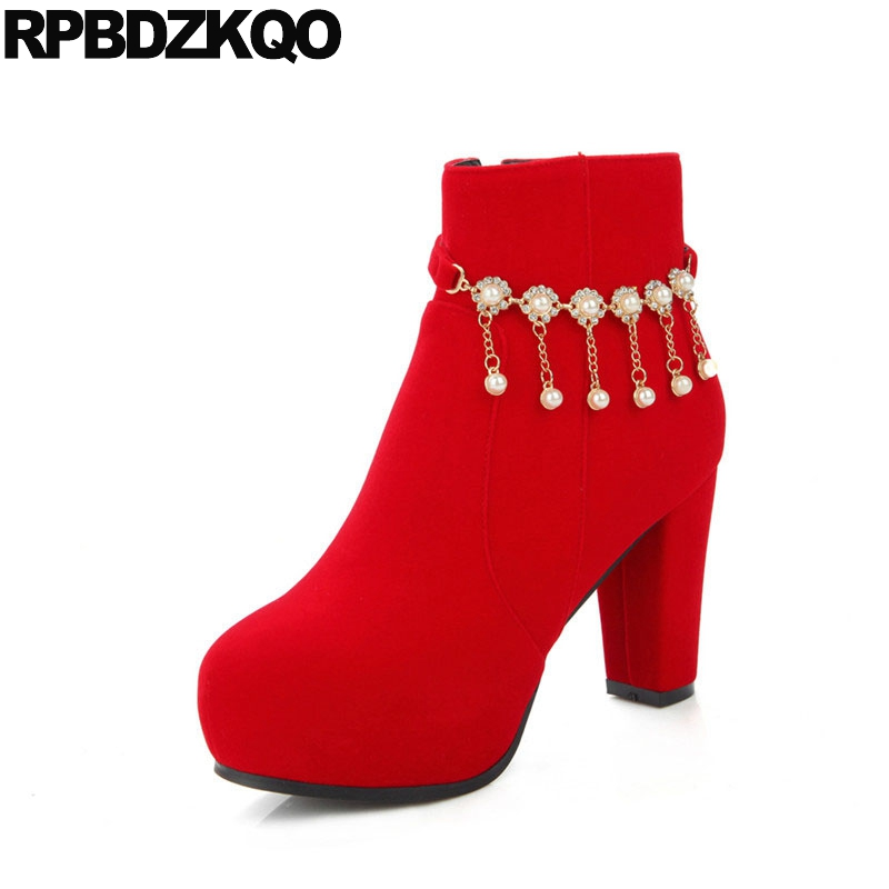 Detail Feedback Questions about Platform Shoes High Heel Pearl 2018 Bridal  Red Rhinestone Big Size Women Side Zip Boots 10 Velvet Booties Crystal  Wedding ... 3880b30047b0